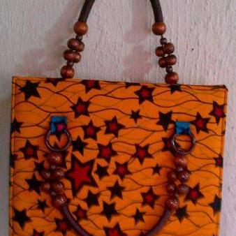 Orange Bead Handle Ankara Bag